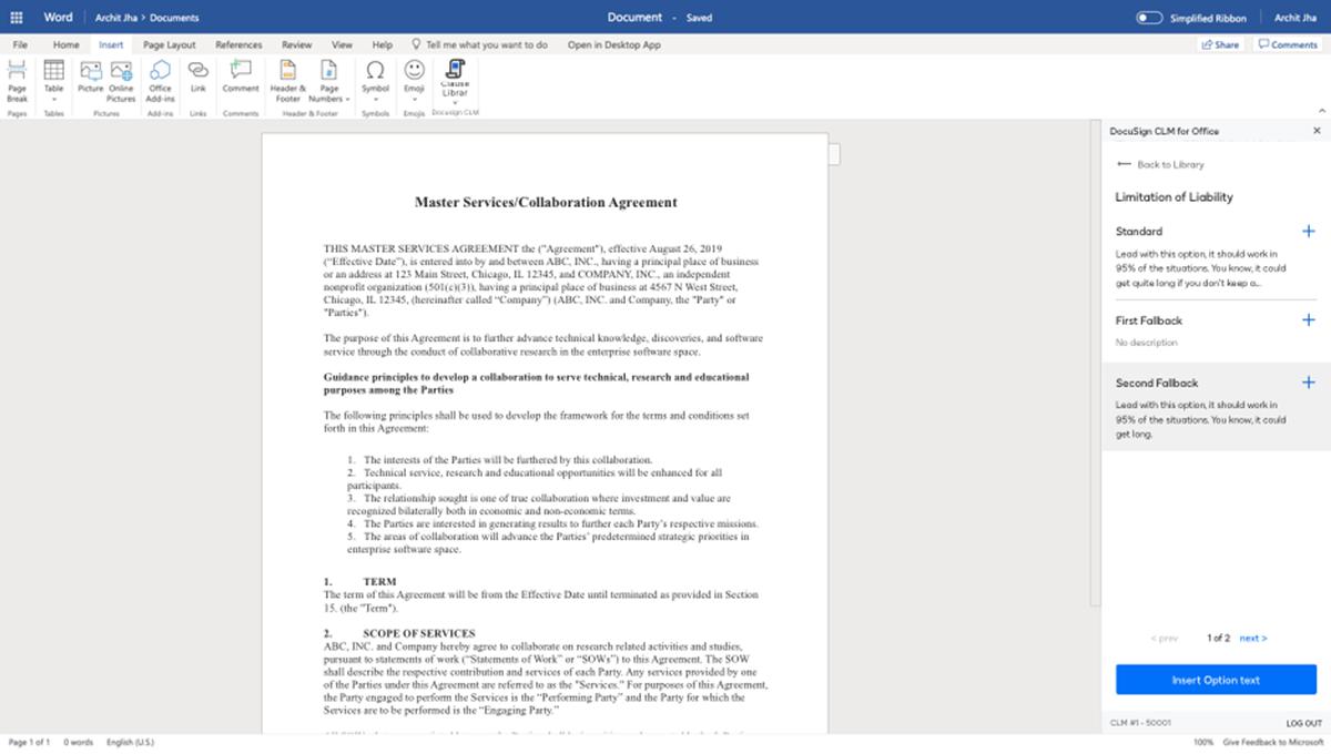 Captura de pantalla de una biblioteca de cláusulas en el sistema