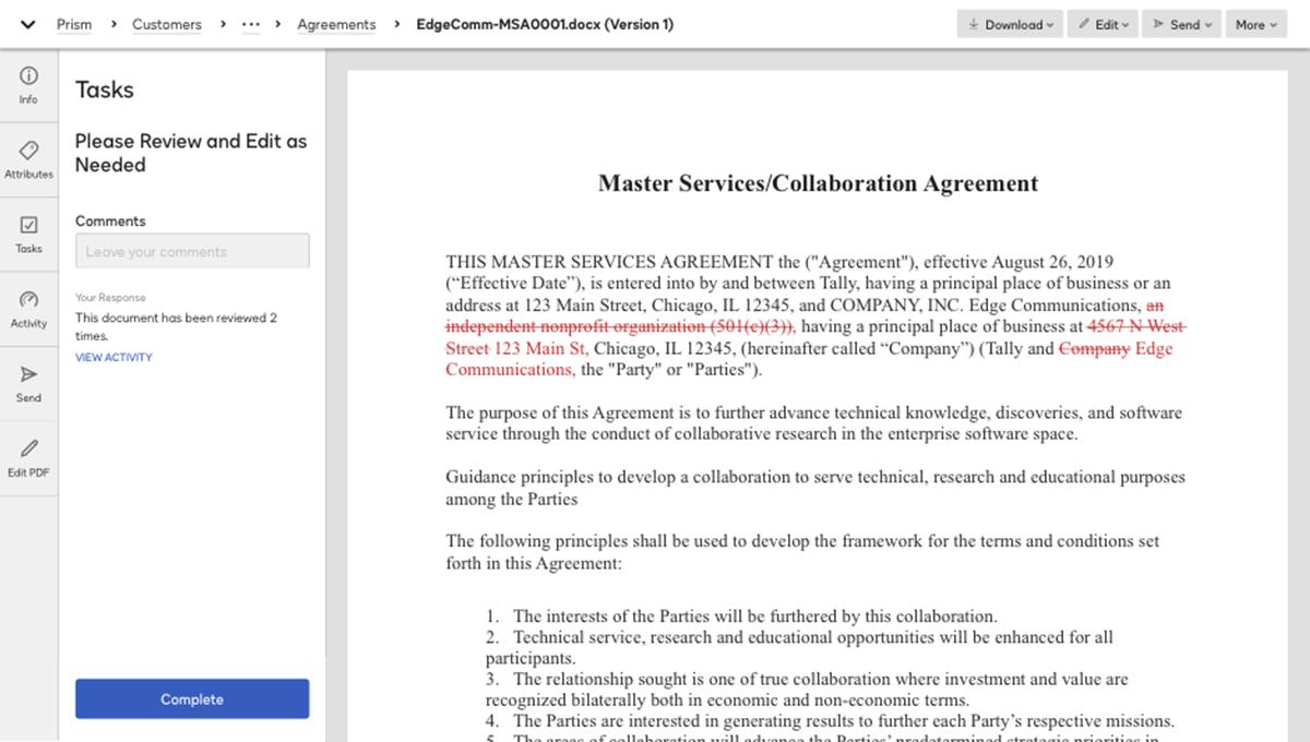Captura de pantalla de cómo se revisa un contrato en el sistema