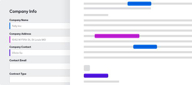 Captura de pantalla de un formulario para completar en DocuSign CLM