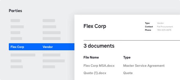 Captura de pantalla de la gestión de partes en DocuSign CLM