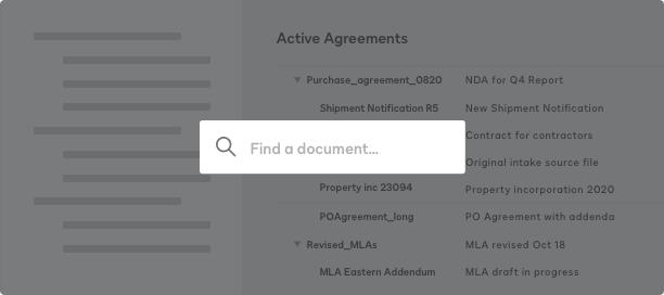 Captura de pantalla de un repositorio de búsqueda para acuerdos activos en DocuSign CLM