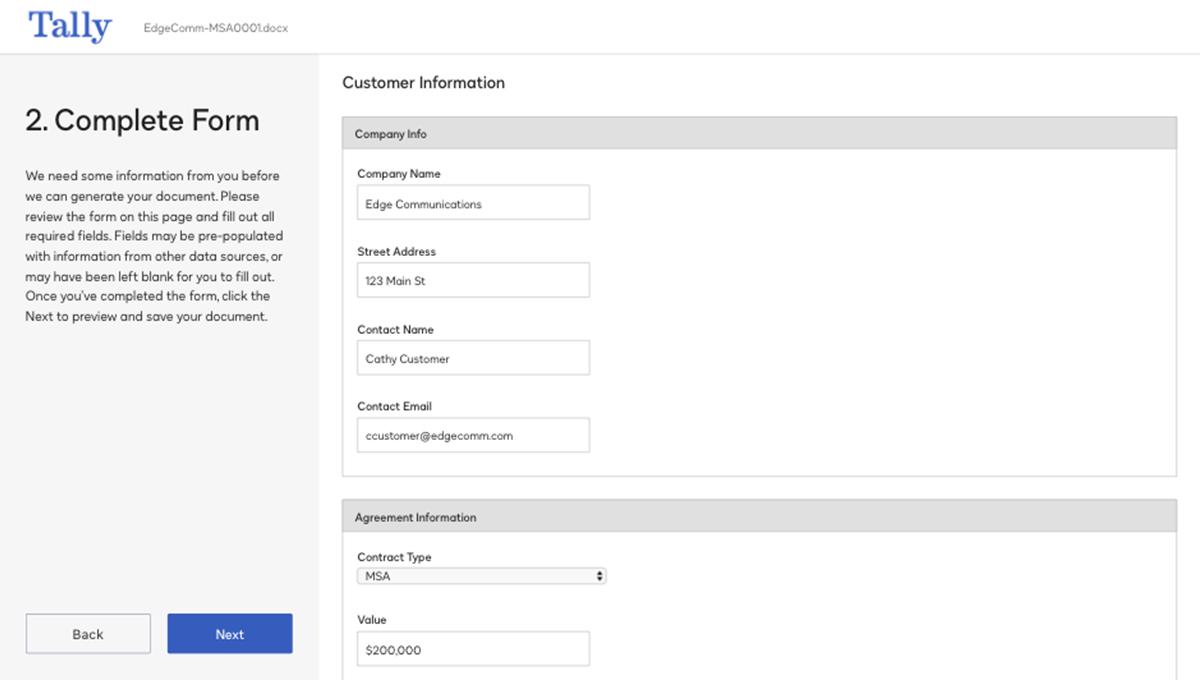 Captura de pantalla de cómo se completa un formulario en el sistema
