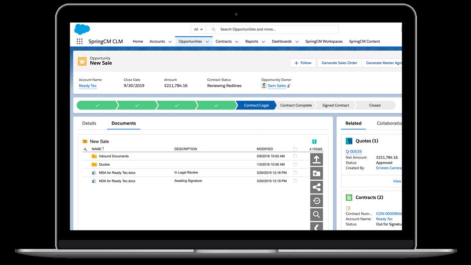 """Captura de pantalla de la interfaz de Salesforce donde muestra """"Generate Documents"""" (Generar documentos)"""