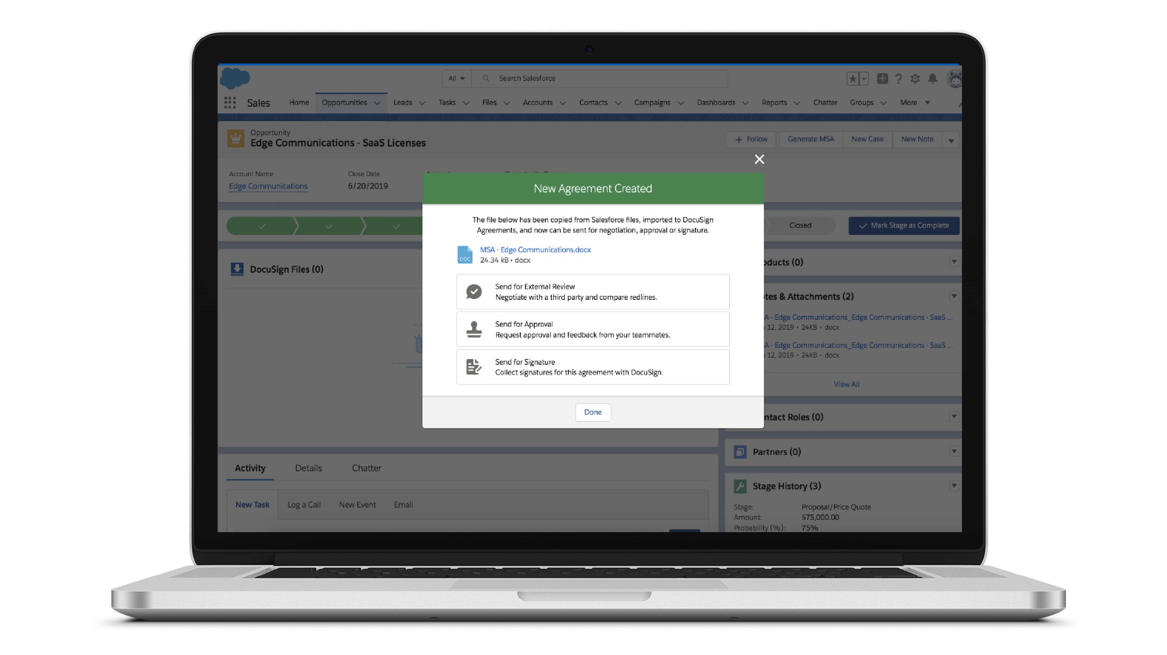 Captura de pantalla de la interfaz de Negotiate para Salesforce