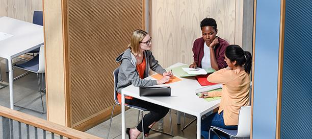 Tres mujeres colaboran en un proyecto