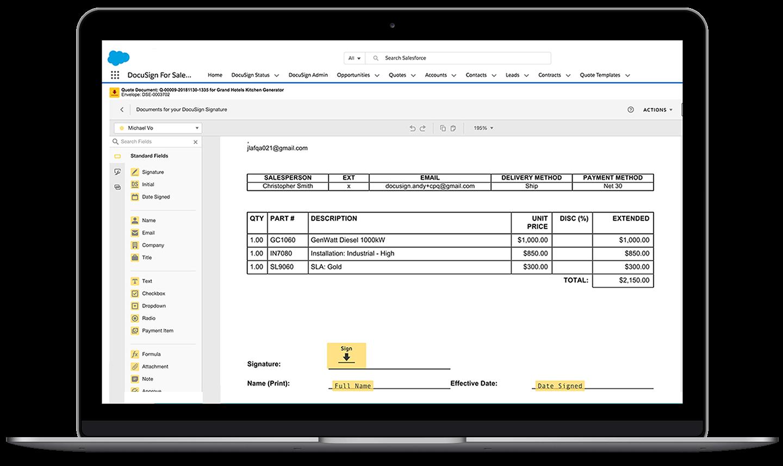 Una laptop que muestra la interfaz de Salesforce con un sobre de DocuSign abierto para su edición