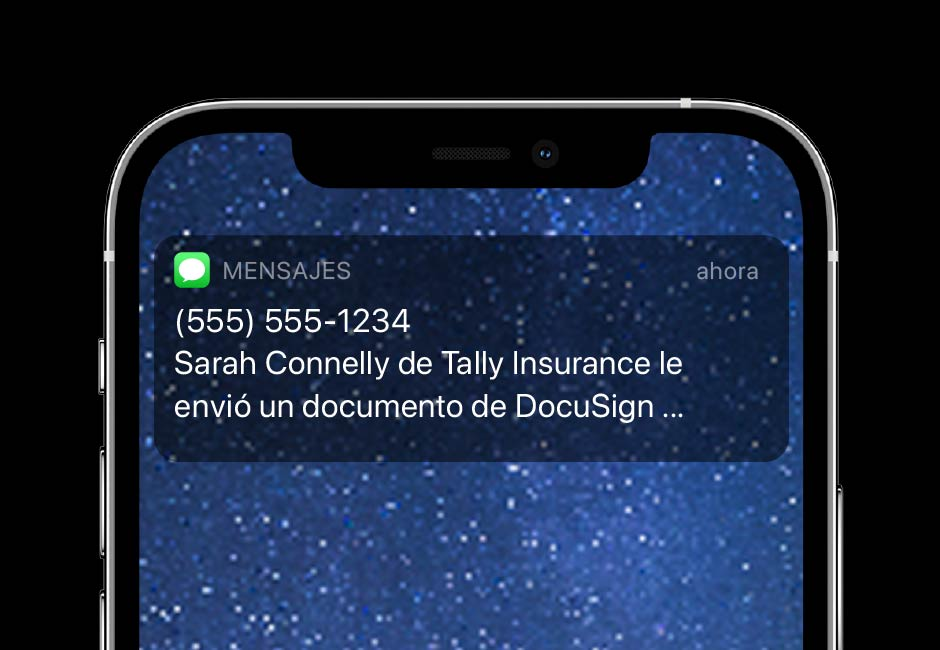DocuSign eSignature SMS Delivery te permite enviar notificaciones de texto en tiempo real.