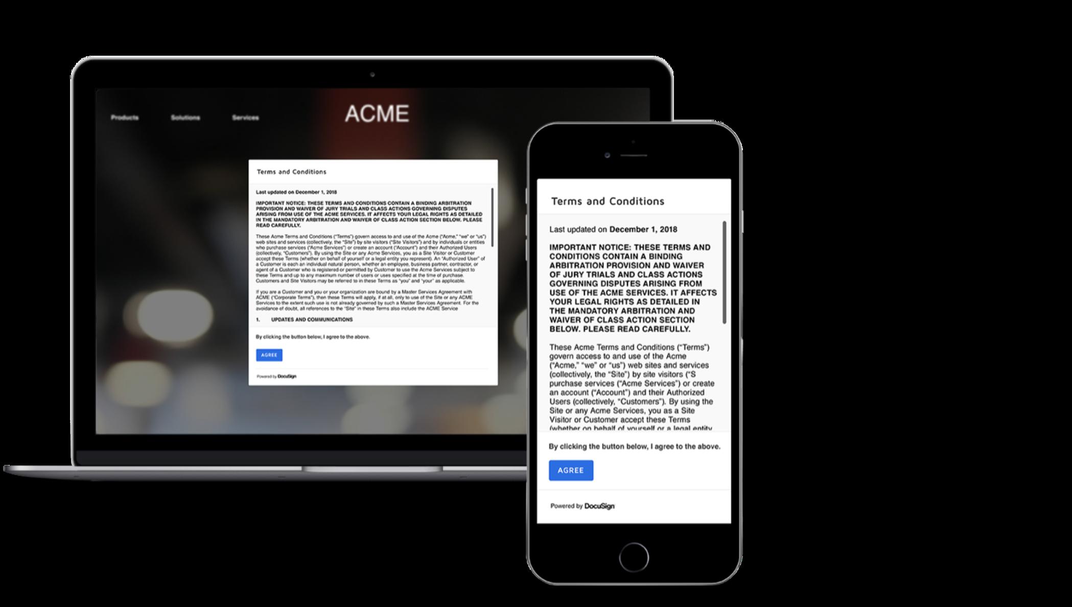 Un acuerdo de términos de servicio se presenta desde una caja dentro de un navegador web.